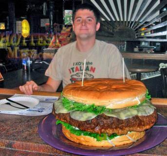 Man Eats Giant Burger