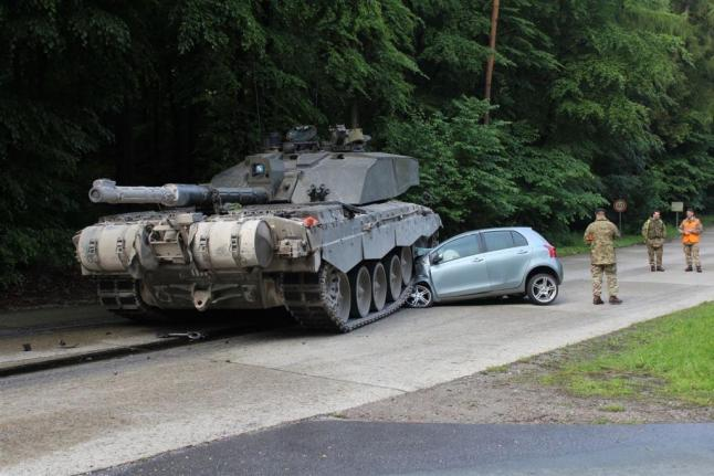 British-tank-crushes-student-drivers-Toyota-in-Germany
