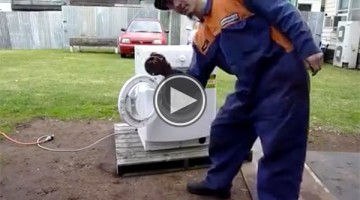 Watch What Happens When This Man Puts A Car Engine Part In A Washer Machine On Spin Cycle