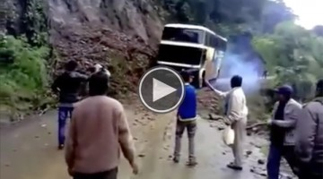 The Moment This Bus Goes Over A Cliff Is Absolutely Shocking