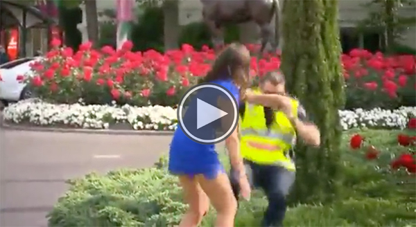 angry woman push cop