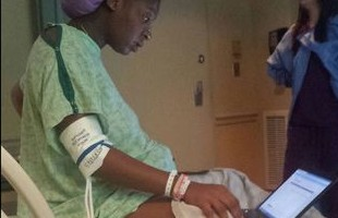 tommitrise collins takes exam while givin birth